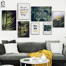 unframed canvas prints Australia - Nordic Canvas Painting Modern Prints Plant Leaf Quotes Art Posters Prints Green Art Wall Pictures Living Room Unframed Poster