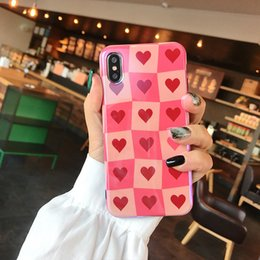 Discount love phone cases wholesale - Love Pink Cell Phone Case Girls Blu-Ray Laser For Iphone Xr IMD TPU Soft Phone Cases For Iphone 6 7 8 Plus