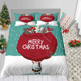 santa bedding sets Australia - Cartoon Santa Print Bedding Set King Kids Cute 3D Duvet Cover For Children Queen Single Double Twin Full Bed Cover with Pillowcase 3pcs