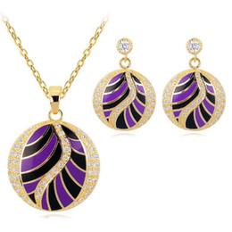 $enCountryForm.capitalKeyWord NZ - Hot Sale Colorful Wings Design Zircon Jewelry Set Round Enamel Jewelry Set (Earrings,Pendant)