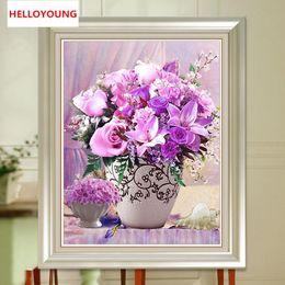$enCountryForm.capitalKeyWord Australia - YGS-163 DIY Full Diamond Embroidery European-style flower vase Round Diamond Painting Cross Stitch Kit Diamond Mosaic Home Decor