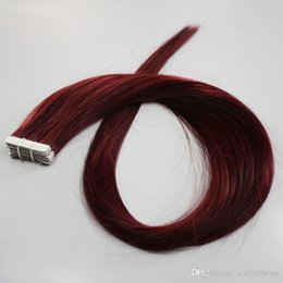 Human Hair red tape extensions online shopping - Red Wine Color J Tape in hair Top Grade virgin brazilian skin weft hair extensions g Tape In Human Hair Extensions