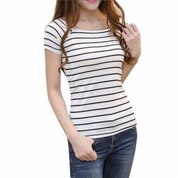 Black Strip T Shirt Australia - Summer Casual Women Tops Stripped Black and White Cotton T Shirt Short Sleeve O-Nect T Shirt Size S M L XL XXL