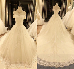 $enCountryForm.capitalKeyWord Australia - Amazing Chapel Train Princess Wedding Dresses Off the shoulder Applique Lace Corset Back Beads Wedding Reception Dress Bridal Gowns New