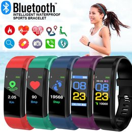 kids watch silicone bands NZ - Color Screen Smart Bracelet Men Women Sports Led Sports Kids Watch Fitness Tracker Heart Rate Pedometer Smart Band Dropshipping