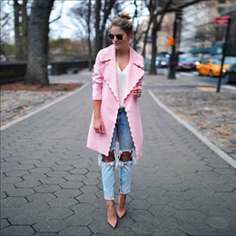 Women's Crew Collar Jacket Australia - Women Cardigan Outerwear Autumn Winter New Casual Ladies Turn Down Collar Long Sleeve Solid Jackets Femme Pink Coats