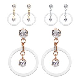 $enCountryForm.capitalKeyWord Australia - Charm Earrings Jewelry Fashion Elegant Women High Quality Zircon Earrings Wholesale Exquiiste Brief Big Ceramic Circle Earrings LER060