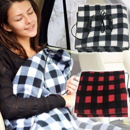 Discount portable car heat - 12V Lattice Electric Heater Blanket 2 Colors 145*100cm Plaid Energy Saving Warm Car Heating Blanket Winter Heated Mat OO