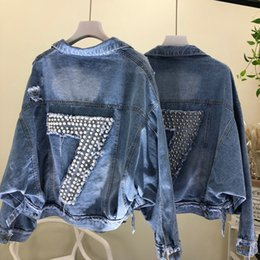 Discount loose pearls - Women Jacket 2019 Korean Version Loose Bat Sleeve Heavy Industry Nail Pearl Digital Hollow Out Denim Long-sleeve Coat