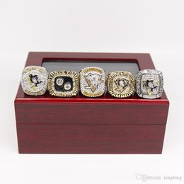 $enCountryForm.capitalKeyWord NZ - Drop Shipping 5PCS Pittsburgh Penguins Stanley Cup Championship Ring Set With wooden display box Fan Men Gift Wholesale