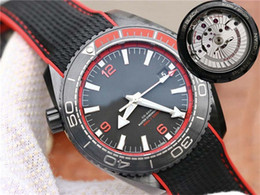 gmt dive watch Australia - VS Super quality Men Watch 45.5mm GMT Planet Ocean Co-Axial 600M 215.92.46.22.01.001 Ceramic Case Caliber 8906 Automatic Mens Diving Watches