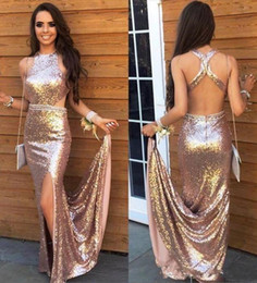 $enCountryForm.capitalKeyWord Australia - Sexy Backless Rose Gold Sequined Prom Dresses 2019 Mermaid Long Evening Gowns Party Wear Side Split Formal Occasion Dress Cheap