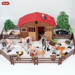 $enCountryForm.capitalKeyWord NZ - Cheap Action & Toy Figures Oenux Zoo Farm House Model Action Figures Farmer Cow Hen Duck Poultry Animals Set Figurine Miniature Lovely
