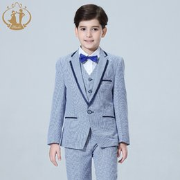 kids casual blazers NZ - 2020 3PCS Kids Plaid Wedding Blazer Suit for Christening Boy Dress Shirts Wedding Toddler Blazer Suit for Kids Boy Birthday