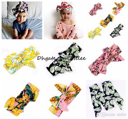 $enCountryForm.capitalKeyWord Australia - ins kids girls Bohemian fruit cotton Headband new good quality baby girl bow flower printed Turban Head Wrap bow Knot Soft hairbands