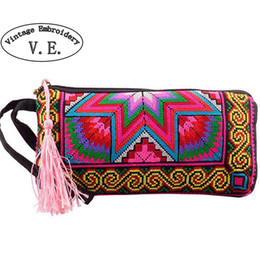 c502369bd4 Vintage Embroidery Wallet New National Ethnic Embroidered long Purse small  Clutch bag Mobile Phone Coin bags #512193
