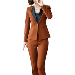 80569587d Mujeres de gran tamaño 2 unidades   juego para mujer trajes de negocios de  oficina trajes traje formal OL traje de negocios de manga larga conjuntos  de ...