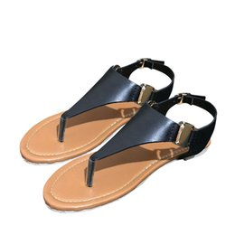 Flat Backing Australia - YOUYEDIAN Black Women's Sandals PU Open Toe Back Strap Sandals Summer Flip Flop Ankle Strap Flat Casual Shoes zapatos de mujer