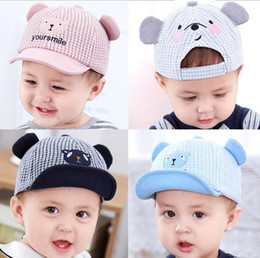 Checkered Hats Australia - Spring new Korean version of children's hat checkered baby bear sunshade cap cartoon baby sun cap W1248
