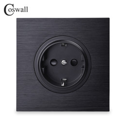 Black Power Socket Australia - Coswall Luxurious Black Aluminum Panel 16A EU Standard Wall Power Socket Outlet Grounded With Child Protective Lock