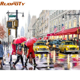 street painting canvas 2020 - RUOPOTY Modern City Street DIY Painting By Numbers Landscape Handpainted Oil Painting Acrylic Wall Art Picture 40x50cm A