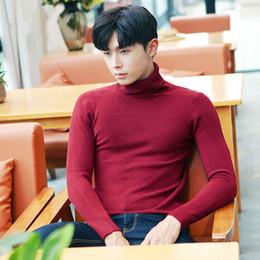 Sweater Man Winter Korean Australia - Men Sweater for Men Winter Clothes 2019 Korean Fashion Knitted Vintage Turtleneck Pullover Fall Sweater White Pull Homme LW311
