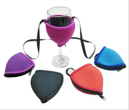 Wine Cups Holder Australia - Fashion Neoprene Cup Sleeve 8 Designs Red Wine Glass Holder Durable Goblet Cans Cooler For Festival Party 10 Pieces ePacket