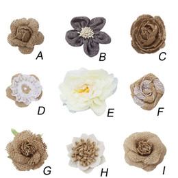 White Rose Crafts Australia - Jute artificial flowers rose Burlap Rose Vintage Wedding Decoration Party DIY Gift Packing Accessories Brooch Flower Craft