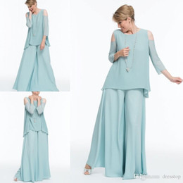 034c9ae0f7b Mint Green Chiffon 2019 Mother Of The Bride Pants Suits Scoop Neck Wedding  Guest Dress Floor Length Long Sleeve Evening Gowns