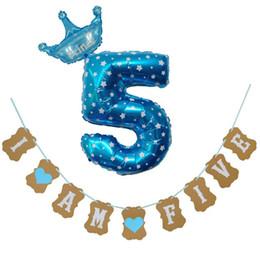 $enCountryForm.capitalKeyWord Australia - 1 Set Creative New I Am Five Kraft Paper Banner 5 Years Birthday Boy Girl 5th Balloons Party Decorations