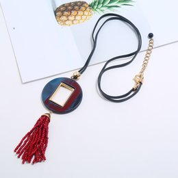 rope chain gold tassels Australia - Statement Long rope chain red rice beads tassel pendant necklace women acrylic jewelry choker collares de moda 2019 ketting