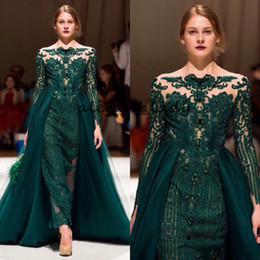 emerald green lace beaded dress UK - Emerald Green Occasion Evening Wear Gowns with Overskirt 2019 Full Lace Applique Beaded Long Sleeve Prom Dresses with Detachable Train