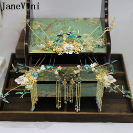 $enCountryForm.capitalKeyWord NZ - JaneVini Vintage Chinese Style Bridal Headdress Costume Green Beaded Coronet Brides Hairpins with Earrings Wedding Jewelry Hair Accessories