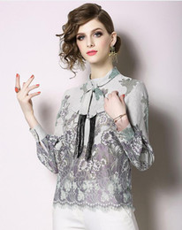 73d41db3f00934 Spring new Korean women's long-sleeved lace Linen shirt stand collar Slim  fit tie waist openwork flower tops explosions