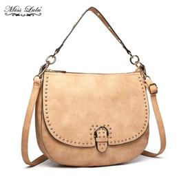 679b4be70a87 Miss Lulu Women Leather Messenger Bags Female Studs Top-handle Tote Saddle Handbag  Crossbody Satchel Hobo Shoulder Bag LT6815
