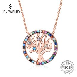 $enCountryForm.capitalKeyWord Australia - E Tree Of Life Rose Gold Silver Women Necklace 925 Sterling Silver Rainbow Cubic Zirconia Pendant Necklace Elegant Jewelry Gift Y19061003
