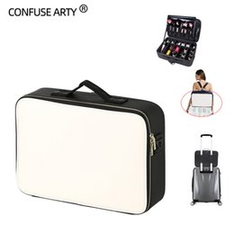 $enCountryForm.capitalKeyWord Australia - Leather Clapboard Cosmetic Bag Professional Make Up Case Large Capacity Storage Handbag Travel Insert Toiletry Makeup