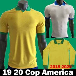 Brazil yellow jersey online shopping - 2019 Cop America Brazil Soccer Jerseys camiseta Long brasil NEYMAR JR COUTINHO DANI ALVES JESUS MARCELO COSTA Football Shirts