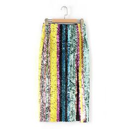 Sparkling Shirt Australia - 2019 Spring New Arrival Slit Sparkling Sequins Ladies Skirts Faldas Largas Elegantes Slim High Waist Midi Skirt Free Shipping Y19060301