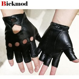 Hollow Fingers Australia - Sheepskin leather half finger gloves men's imported goatskin gloves 2018 new fashion hollow outdoor sports riding driver