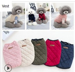 Discount extra small wholesale clothes - Diamond Grid Shape Pet Dog Vest Autumn Winter Dog Cat Coat Creative Funny Puppy Teddy Clothes