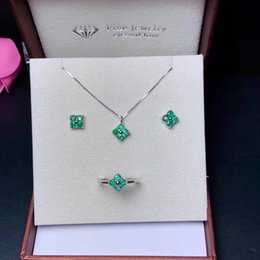$enCountryForm.capitalKeyWord NZ - Fresh Style Forest Elves Series Lucky Clover Natural Emerald Jewelry Set 925 Sterling Silver With Natural Light Green Gemstone Jewelry