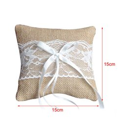 Discount bedding for wedding - Wedding Ring Pillow Cushion Vintage Burlap Lace Decoration For Bridal Party Ceremony Pocket H99F