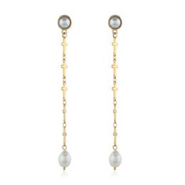 $enCountryForm.capitalKeyWord UK - New designer ladies earrings personalized pearl earrings creative cross earrings metal stereo wild white pearl kc gold jewelry accessories