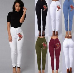 high waist multi color leggings Australia - Fashion Women High Waist Emboridered Skinny Stretch Pencil Long Slim Casual Leggings Jeans Candy Color Jeanes A029