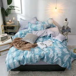 cream bedding Australia - Spring flat sheet set pastoral style duvet cover home bed set blue bedclothes flower bed linen RU family covers
