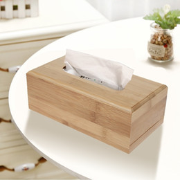 Bamboo Boxes Australia - 2 Sizes Bamboo Box Car Rectangle Shaped Container Towel Napkin Tissue Holder Kleenex For Home Office Desktop C19042101