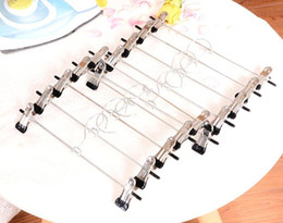 Hanger for kids clotHes online shopping - Stainless Steel Clip Stand Hanger Pants Skirt Kid Clothes Adjustable Pinch Grip Cabide Hangers For Clothes