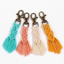 wholesale clutch bags Australia - Boho Fringe Weave Cotton Macrame Keychain tassel weave 4 colors keychain keyring for bags purses clutches