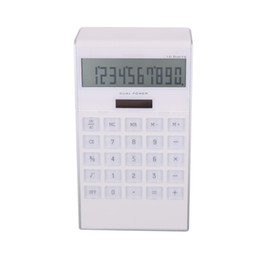 calculator batteries NZ - T F New Plastic Mini White Desk Electronic Promotion Custom Logo Calculator Solar Energy Coin Battery dual power calculator wtih calendar